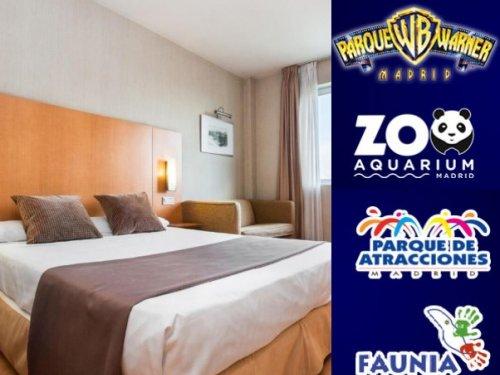 Noche en hotel + Entrada a elegir (Warner, Parque de Atracciones, Zoo Aquarium, Faunia)